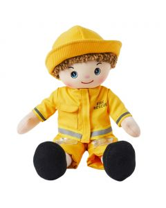 Eddie is a boy fire fighter rag doll with a soft cloth body and auburn hair and wears a fireman's uniform that consists of a yellow safety jacket, pants and hat and loves to rescue people and animals from fires.