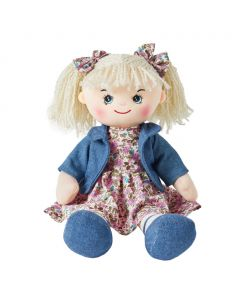 Freya is a super stylish rag doll with a soft cloth body and curly ringlet hair tied in pigtails with bows and wears a pink floral dress with a cute denim jacket and loves to bake and go swimming.