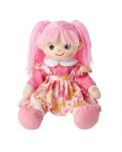 Jill is gorgeous rag doll with a soft cloth body and light pink hair and wears a floral pink pinafore dress and loves puppies and baking cookies.