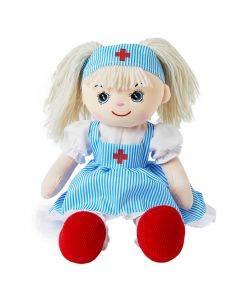 Madison is a nurse rag doll with a soft cloth body and blonde hair tied in pigtails and wears a stunning pinstripe nurse uniform and loves to help those who are sick feel better.