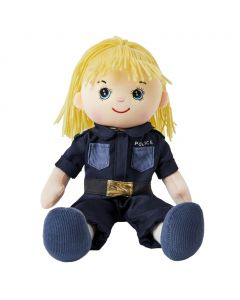 Lizzy is a girl police officer rag doll with a soft cloth body and blonde hair tied in a ponytail and wears a policewoman's uniform that consists of a dark blue shirt and pants and loves to help others and keep the city safe.