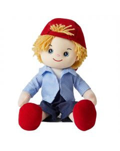Ryan is fun loving boy rag doll with a with a soft cloth body and blonde hair and outfit consists of a striped shirt, denim shorts and a red corduroy cap and loves drawing art and playing sports.