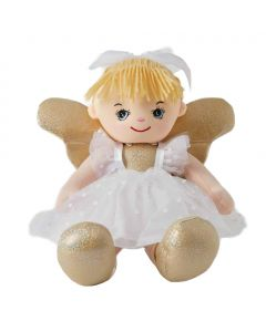 Skye is an fairy rag doll with gold wings that loves to celebrate and wears a white spotted tulle dress with a white bow tied in her blonde hair.