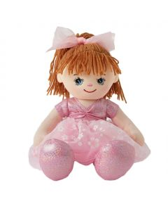 Sophia is a pretty ballerina rag doll with a soft cloth body and wears a pink leotard and tutu with a pink bow in her  brown hair with pink ballet slippers.