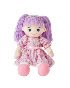 Zoey is a quirky rag doll with a soft cloth body and purple hair tied in pigtails with a headband and wears a pink floral dress and loves to have tea parties and go hiking with friends.