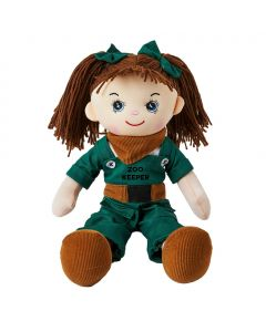 Nina is a zoo keeper rag doll with a soft cloth body and brunette hair tied in pigtails with green bows and wears a zoo keeper uniform that consists of green overalls, a brown belt and bandana and loves to feed and look after the animals.