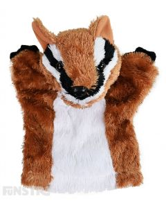 Soft and cuddly numbat hand puppet with brown, black and white fur.