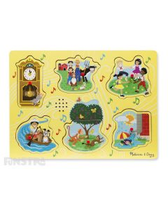 Sing along to the nursery rhymes with this fun sound jigsaw puzzle from Melissa & Doug, featuring Hickory Dickory Dock, The Farmer in the Dell, Ring Around the Rosie, Row, Row, Row Your Boat, Pop Goes the Weasel, and The Itsy Bitsy Spider.