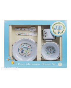 Peter Rabbit deluxe dinner set consists of spoon and fork, plate, bowl and cup in a classic Beatrix Potter design.