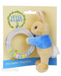 The super soft Peter plush toy wears his signature blue sweater and a cute and fluffy tail and holds the ring rattle that helps baby develop fine and gross motor skills, and gives hours of fun with constant movement and sliding beads..