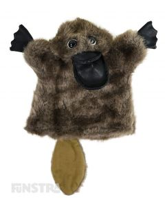 Soft and cuddly platypus hand puppet with brown fur.