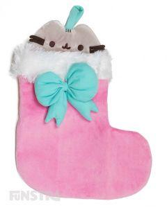 Pusheen peeking out of the stocking can hold a lot of treats for good little kitties, featuring plush fabric stocking, with a fluffy white, soft trim!