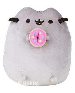 Pusheen is the snack-loving kitty cat with a sweet tooth and holds a yummy  pink frosted donut that features an embroidered happy face.