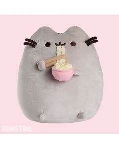 Pusheen is enjoying eating ramen noodles with chopsticks from a pink bowl. Super cute and cuddly friend for fans of ramen and the famous feline.