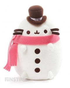 Wearing a top hat and pink scarf Pusheen is a cute little snowman and ready for some fun in the snow!