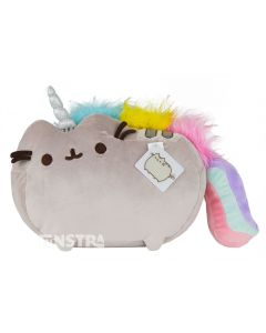Pusheen is dressed up as a unicorn and features all the characteristics of the legendary mythical creature, complete with the furry texture of her rainbow colored mane of hair, a rainbow tail, sparkling unicorn horn and embroidery on the magical Pusheen.