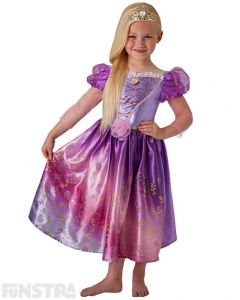 Rapunzel, Rapunzel, let down your hair! Transform into the princess with long blonde locks of hair and dress up as Rapunzel from Tangled with this beautiful Disney Princess costume for children.