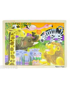 Learn and play with the Melissa & Doug puzzle featuring an exotic scene of animals with a lion, giraffe, elephant, zebra, hippopotamus and flamingo.