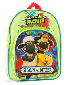 The backpack showcases Shaun & Bitzer and is perfect for fans of the stop-motion animated television series and movies to carry school books and belongings.
