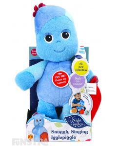 Snuggle and cuddle with Igglepiggle blue teddy doll, holding his red blanket.