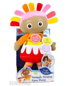 Snuggle and cuddle with singing Upsy Daisy doll dressed up in her red, yellow, pink and orange costume and matching hair.