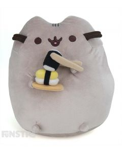 Pusheen enjoys eating a serving of refreshing  sushi and nigiri with chopsticks, as she stands upright in this plushy.