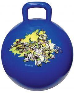 Cowabunga dude! Bounce with Leonardo, Donatello, Raphael and Michelangelo on this blue TMNT hop ball.