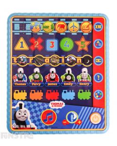 Fun electronic and educational toy for little ones to learn to recognise letters, numbers, colours, shapes and characters. Play the six activity quiz games to hear questions and learn if your answer is correct.