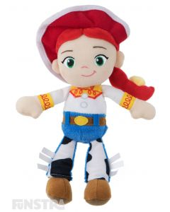 Soft and cuddly Disney Baby plush beanie toy of Jessie wears her signature cowboy costume and is the perfect friend for children of all ages to take on adventures.