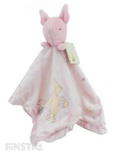 Classic Piglet comforter on this baby pink blanket for little girls.