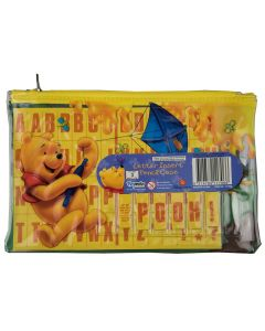 Pooh is flying a kite and surrounded by bees and honey on this cute pencil case, featuring name letter inserts.