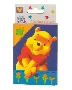 Play card games with playing cards, featuring Disney's cuddly bear.