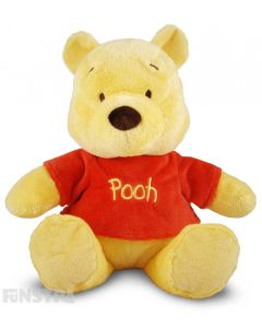 Soft and cuddly Disney Baby plush toy of Pooh bear with rattle to entertain babies.