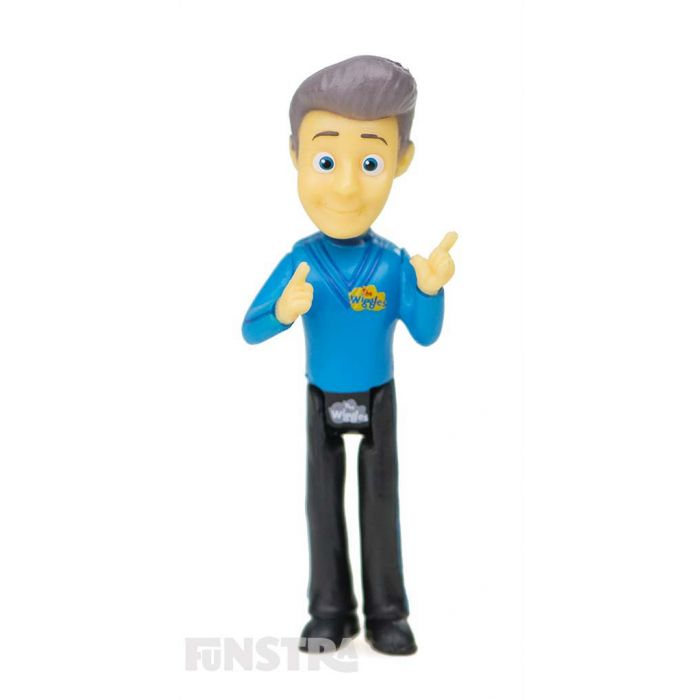 It's the blue Wiggle figurine, Anthony! Anthony Wiggle loves eating fruit salad and playing the guitar and bag pipes.