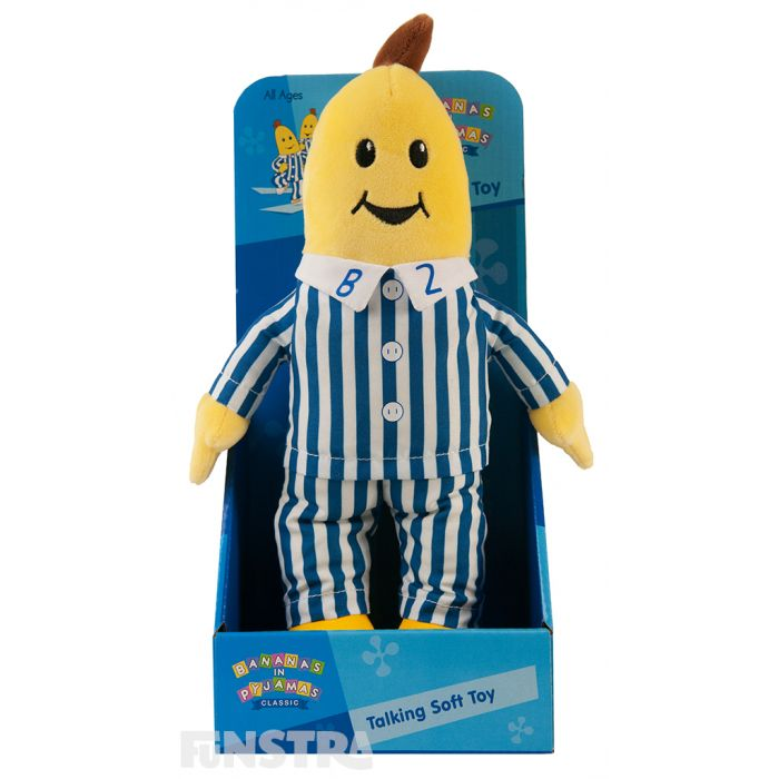 Press the tummy of the talking B2 plush toy to hear phrases from the TV show that include 'It's making music time!', 'It's playing with teddies time!' and 'It's sleep time!'.