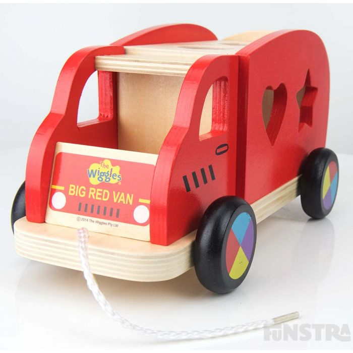 Features a string to pull along the Big Red Car.