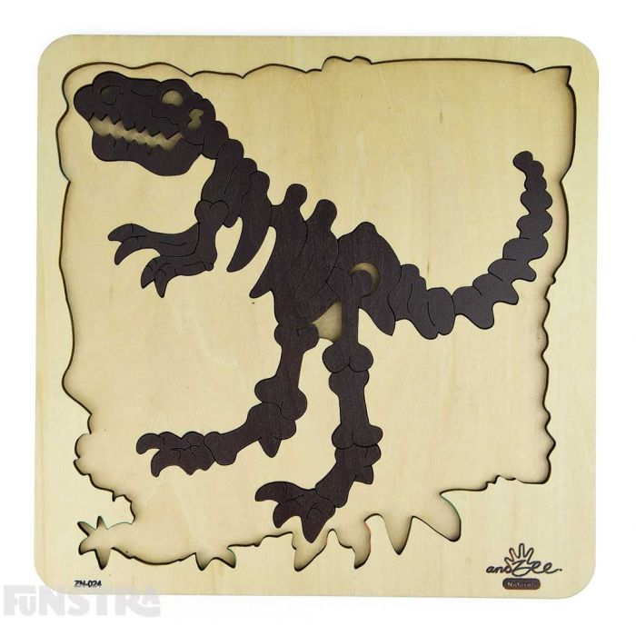 Double layer wooden puzzle features a skeleton of the T Rex fossils and dinosaur bones.