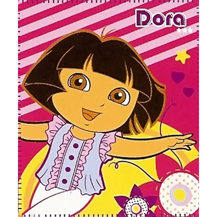 Dora will keep you cozy and warm with this cute throw blanket, featuring her dancing among stars, stripes and hearts.