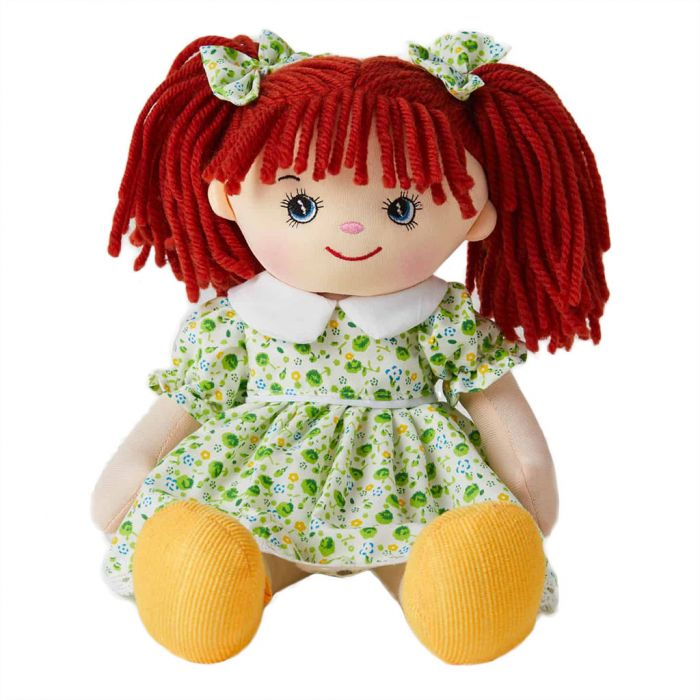 Willow is a super sweet rag doll with red hair and wears a green floral dress and loves to play in the garden and go camping.