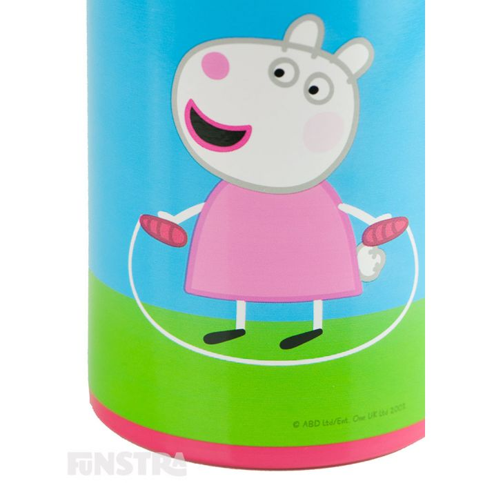 Suzy Sheep is Peppa's best friend and is playing too with her skipping rope