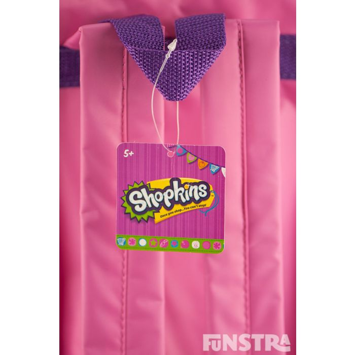 Purple carry handle and comfortable pink shoulder straps and official tag