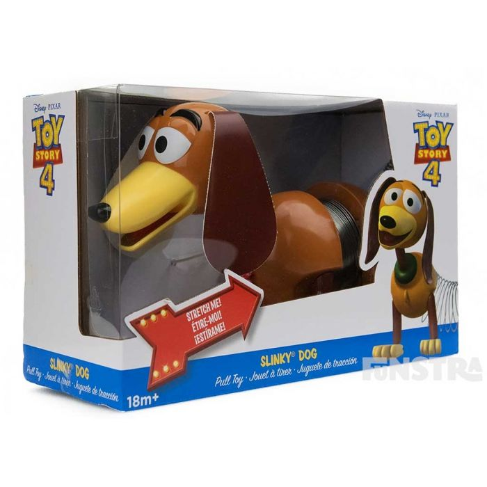 Pull Slinky Dog along and watch him stretch, beautifully packaged in Toy Story 4 packaging to celebrate the movie release.