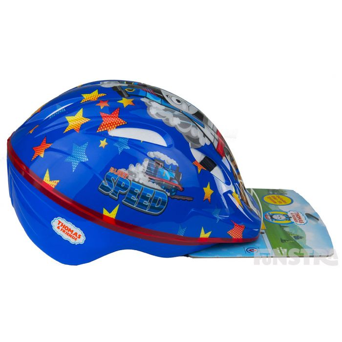 'Built for speed'... the side of the helmet has a fun design of the blue train racing on the railway tracks