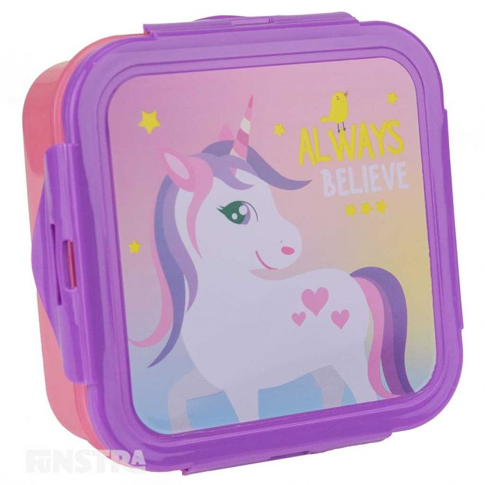 Lunch box is pink with a purple lid that showcases a magical design