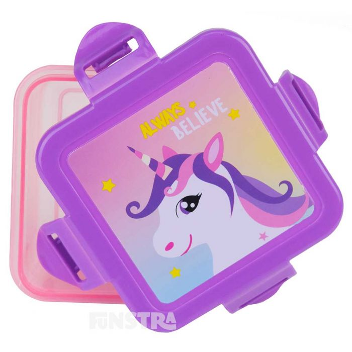 A beautiful unicorn design features on this food storage container and opens with a snap on lid