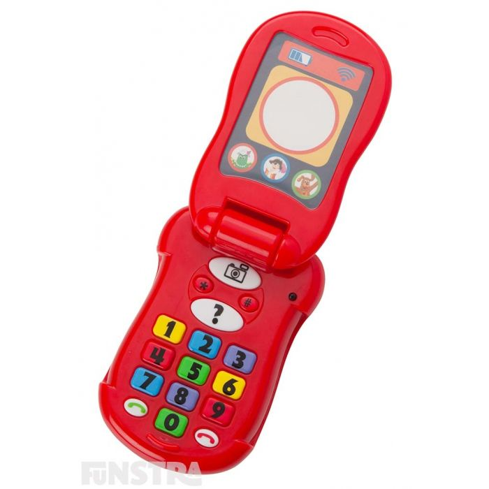 Flipped open, the phone features a light up screen, numeric keypad with camera, question, call and end call buttons.