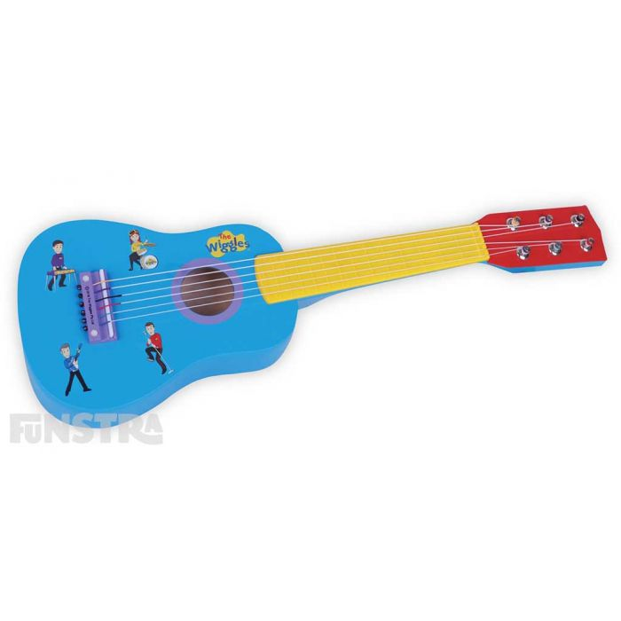 Bright and colourful, the toy guitar showcases the Wiggles and has a blue body, yellow neck and red head.