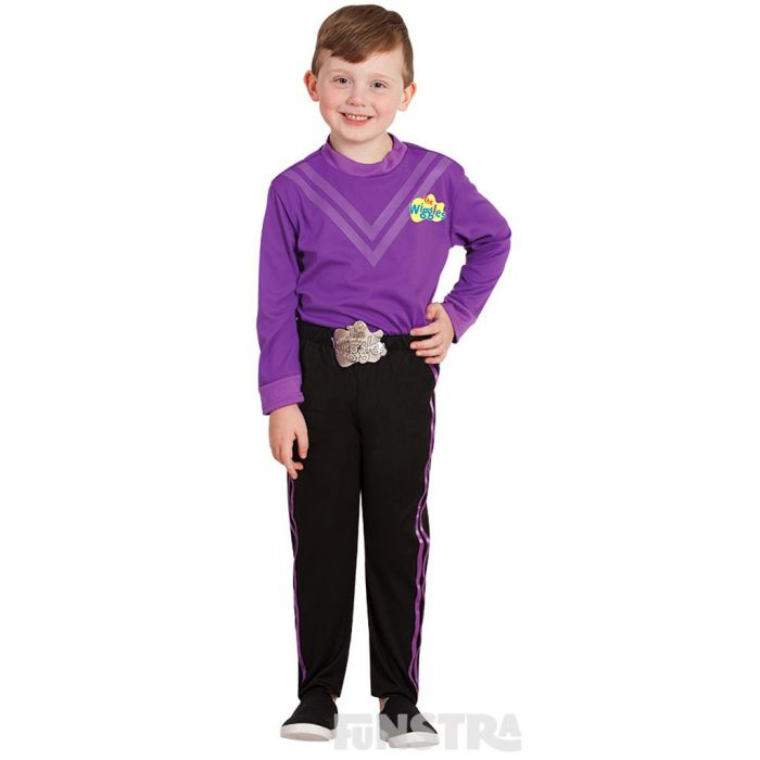 Dress up as the purple Wiggle, Lachy Gillespie, the sleepy head with curly hair that loves to play the piano, wearing a purple shirt and black pants.