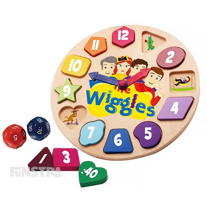 It's a clock and a puzzle too, the Wiggles game includes a wooden clock, twelve bright and colourful puzzle pieces and two dice to match the hour and the minute hands.