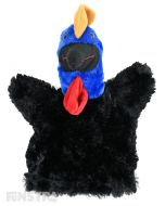 Soft and cuddly cassowary hand puppet with black and blue fur.